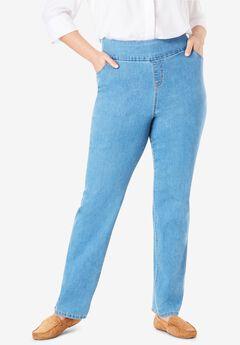 Straight Leg Smooth Waist Jean, LIGHT STONEWASH