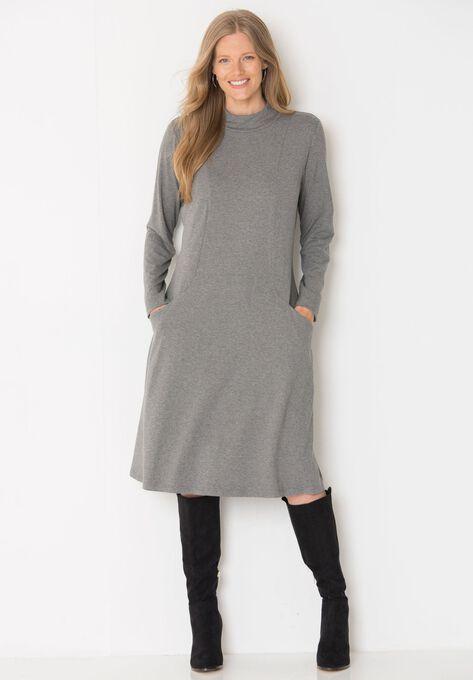 Mock turtleneck swing dress