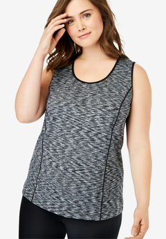 Peached Knit Tank Top by FullBeauty SPORT®, BLACK WHITE SPACE DYE