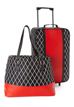 Shopping tote and trolley set, BLACK DIAMOND PRINT, hi-res