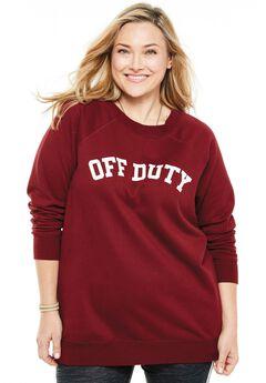 Wide Scoop Neck Graphic Sweatshirt, OFF DUTY