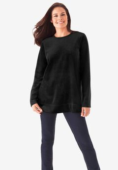Plush Velour Tunic Sweatshirt,