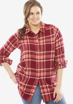 Classic flannel bigshirt, RICH BURGUNDY PLAID, hi-res