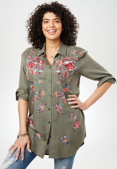 Embroidered Tunic Shirt with Self-Tie, SAGE GRASS, hi-res