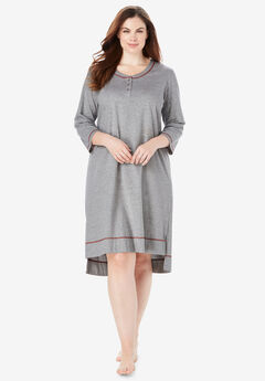 Scoopneck Sleepshirt by Dreams & Co.®, HEATHER GREY RED, hi-res