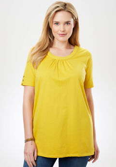 Button-Sleeve Shirred Scoop Neck Perfect Tee,