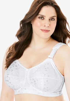 Wireless Full-Coverage Jacquard Embroidered Bra by Elila®, WHITE, hi-res