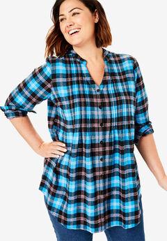 Pintucked Flannel Shirt, VIBRANT BLUE PLAID