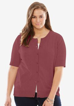 Perfect Short Sleeve Cardigan, RUBY WINE, hi-res