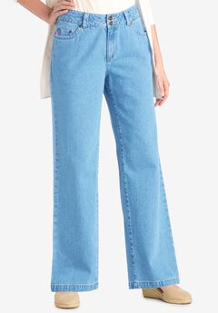 Wide Leg Cotton Jean, LIGHT STONEWASH