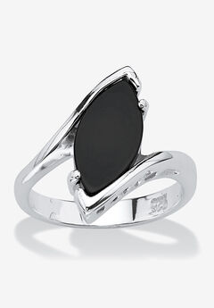 Sterling Silver Natural Black Onyx Marquise Shaped Bypass Ring,