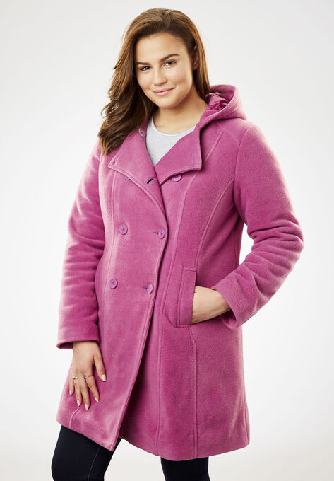 d00f51d17b70 Double-Breasted Hooded Fleece Peacoat