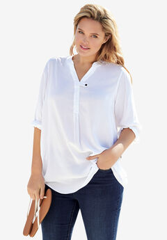 Three-Quarter Sleeve Tab-Front Tunic, WHITE