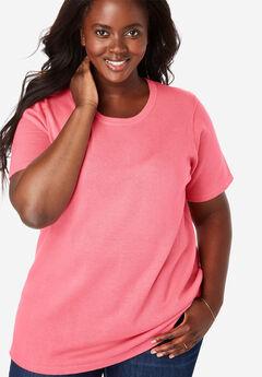 Pullover Short Sleeve Fine Gauge Sweater, TEA ROSE