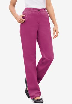 Back-Elastic Straight Leg Cotton Jean, RASPBERRY