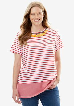 Tassel Accent Striped Tee, HOT RED MULTI, hi-res