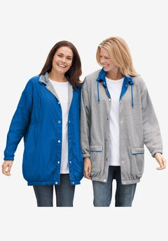 Fleece Nylon Reversible Rain Jacket,
