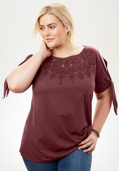 Embroidered Tie-Sleeve Cold-Shoulder Tee,