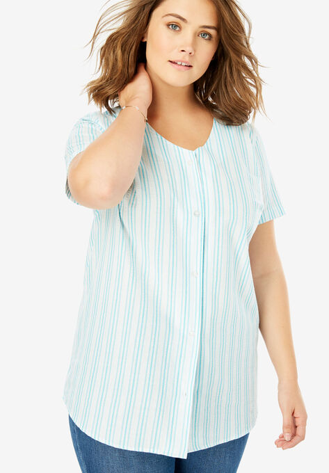 f7320a34 Seersucker V-Neck Shirt| Plus Size Shirts & Blouses | Woman Within