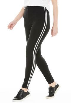 Stretch Cotton Side Stripe Legging, BLACK WHITE