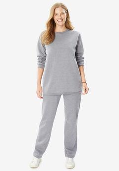 Fleece Sweatsuit, HEATHER GREY
