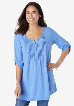 Three-Quarter Sleeve Pintucked Henley Tunic,