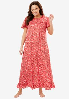 Long Cotton Gown by Dreams & Co®, CORAL RED FLORAL, hi-res