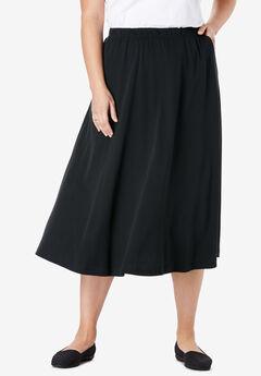 7-Day Knit A-Line Skirt, BLACK