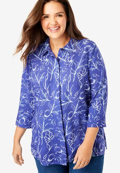 Elbow Sleeve A-Line Blouse,