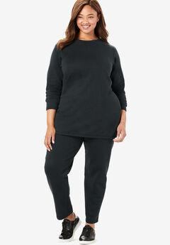 Fleece Sweatsuit, BLACK