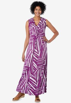sleeeveless knot-Front Maxi Dress,