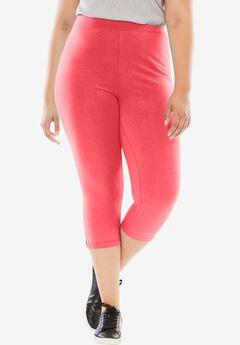 Stretch Cotton Capri Legging, CORAL RED, hi-res
