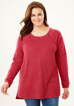 Raglan Washed Thermal Sweatshirt, FRESH RED