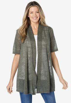 Southern Lady Women Plus Size 1x 2x 3x Blue White Asym Cardigan Jacket Sweater