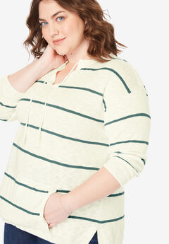 Tassel-Tie Pullover Sweater, IVORY ANTIQUE TEAL STRIPE