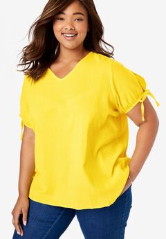 Cotton Gauze Slit-Sleeve Top,