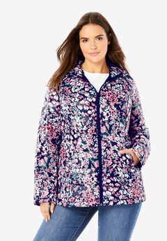 Packable Puffer Jacket, NAVY FLORAL BURST