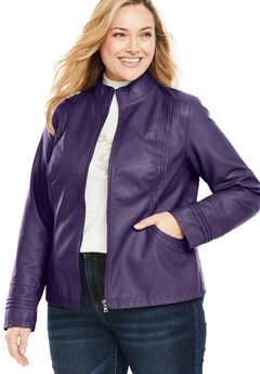 Faux Leather Pleat Jacket, MIDNIGHT PLUM, hi-res