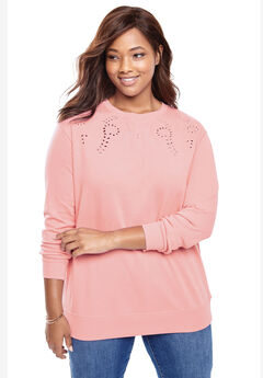 Eyelet Fleece Sweatshirt,