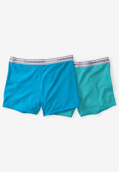 2-Pack Stretch Knit Boyshort by Comfort Choice®, BLUE AQUA PACK