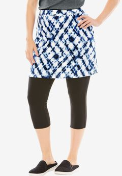 Stretch Cotton Skirted Capri Legging, COBALT CROSSHATCH DYE BLACK, hi-res