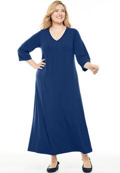 Maxi T-Shirt Dress with Princess Seams, EVENING BLUE