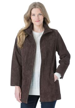 Funnel neck suede jacket, CHOCOLATE, hi-res