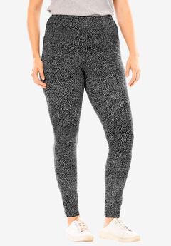 Stretch Cotton Printed Legging, BLACK SPRINKLE