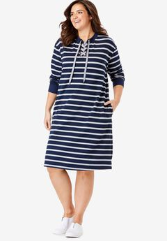 Lace-Up Front Fleece Dress,
