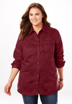 Soft Sueded Button Down Shirt, RICH BURGUNDY