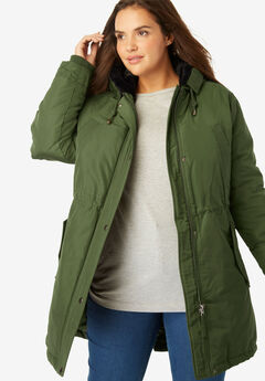 Faux Fur Trim Hooded Parka,
