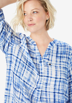 Three-Quarter Sleeve Tab-Front Tunic, EVENING BLUE WATERCOLOR PLAID