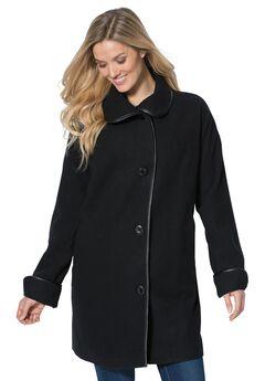 Faux leather trim wool coat, BLACK, hi-res