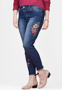 Floral Embroidered Skinny Jean by Chelsea Studio®, OLYMPIA WASH, hi-res